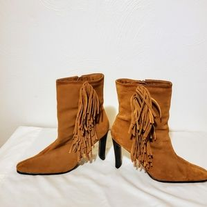 Predictions Leather Suede Fringe Boot Size 12
